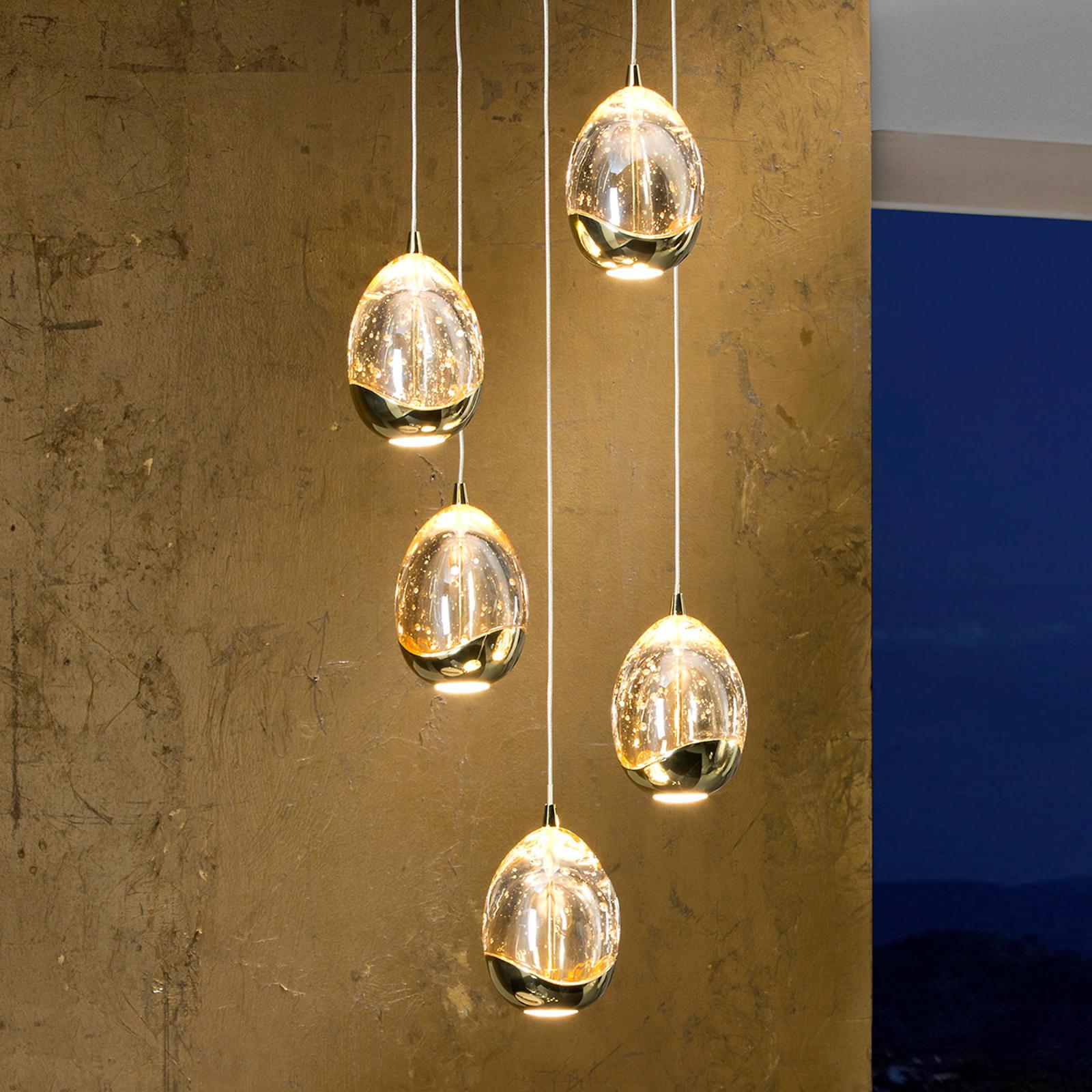 Suspension LED dorée Rocio, 5 lampes
