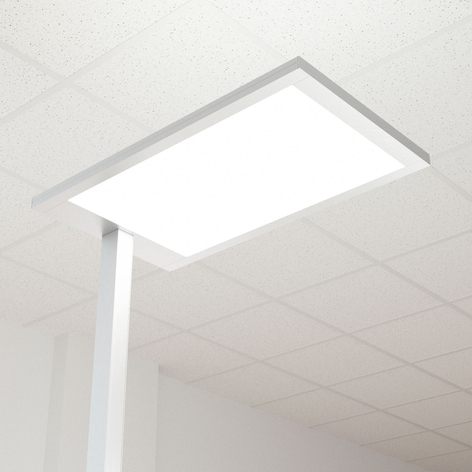 LED-kontorgulvlampe Javier, dimmer, dir. indirekte