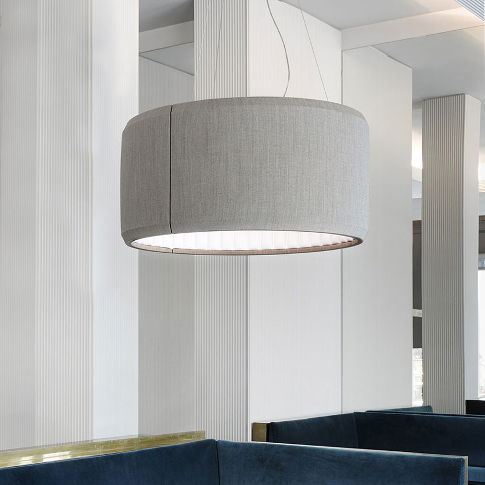 Luceplan Silenzio LED-pendellampe grå Ø 90 cm