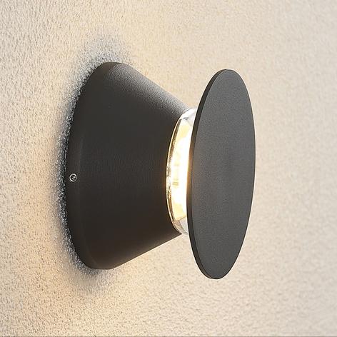 Aplique LED de exterior Edna circular, gris oscuro