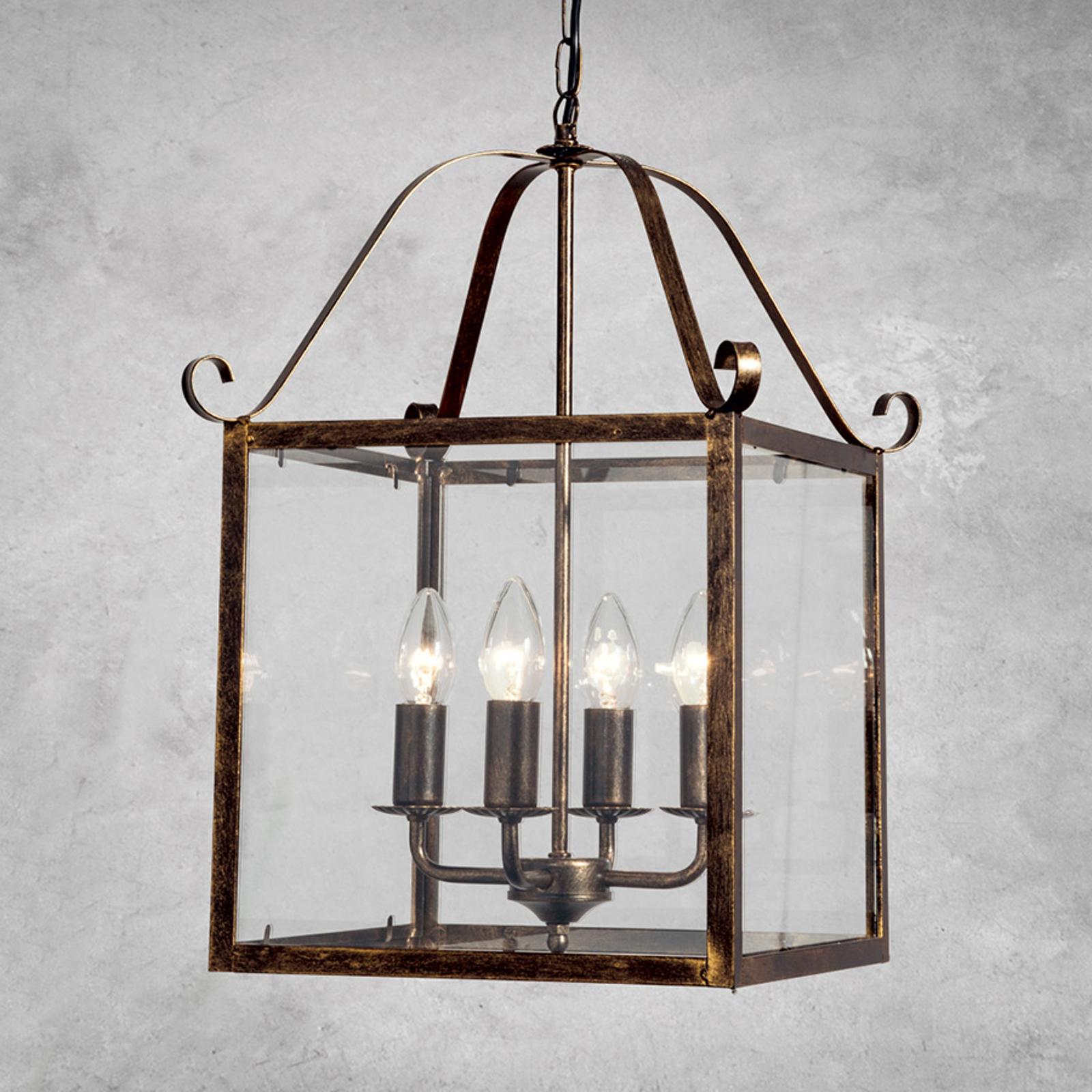 Magnifique suspension FALOTTA carrée, à 4 lampes