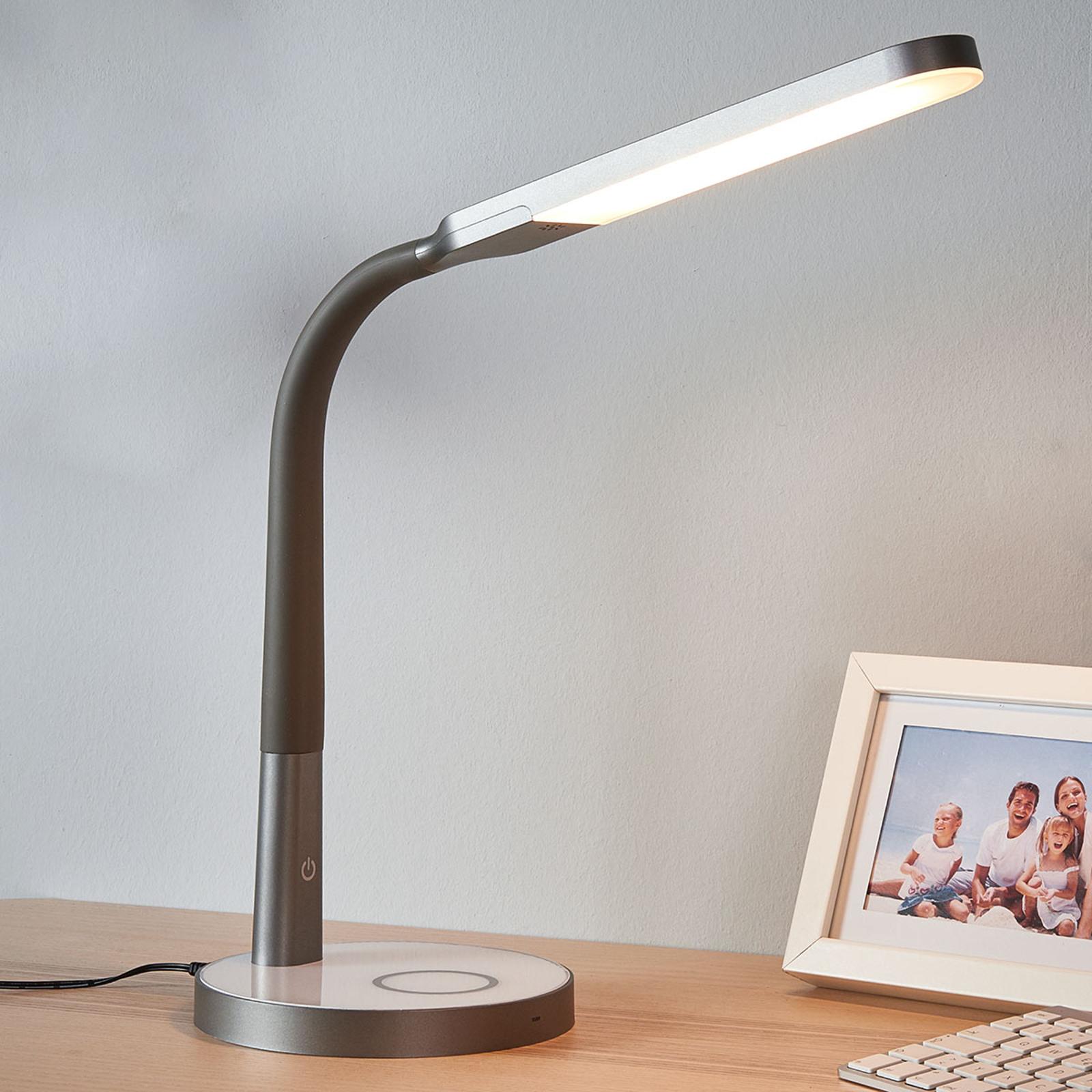 Grijze led bureaulamp Maily, USB en dimmer