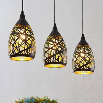 Lindby Marcello -riippuvalo, 3-lamp., musta-kulta