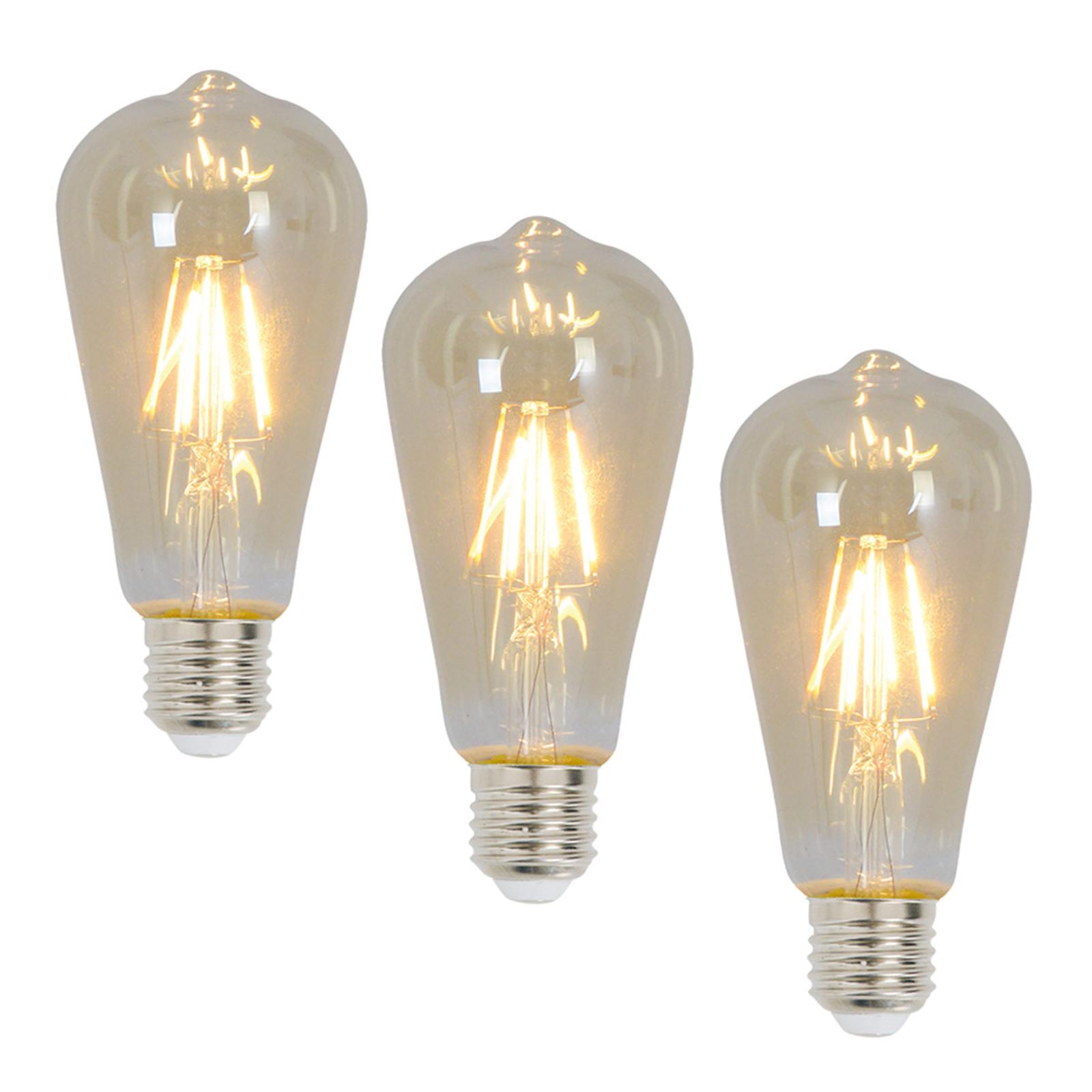 E27 LED-Rustikalampe 4 Watt Filament 3er 2.200 K