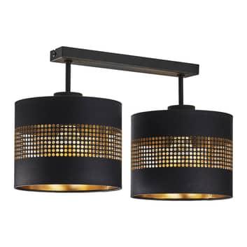 Plafonnier Tago à deux lampes, noir/doré