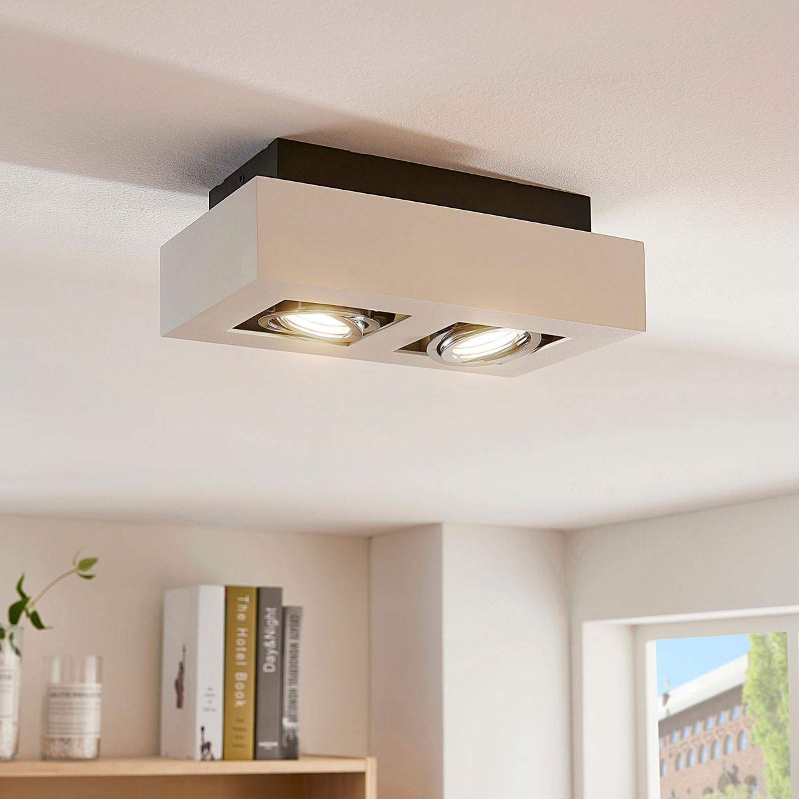 Kantet LED-spotlys Vince i hvitt med to lys