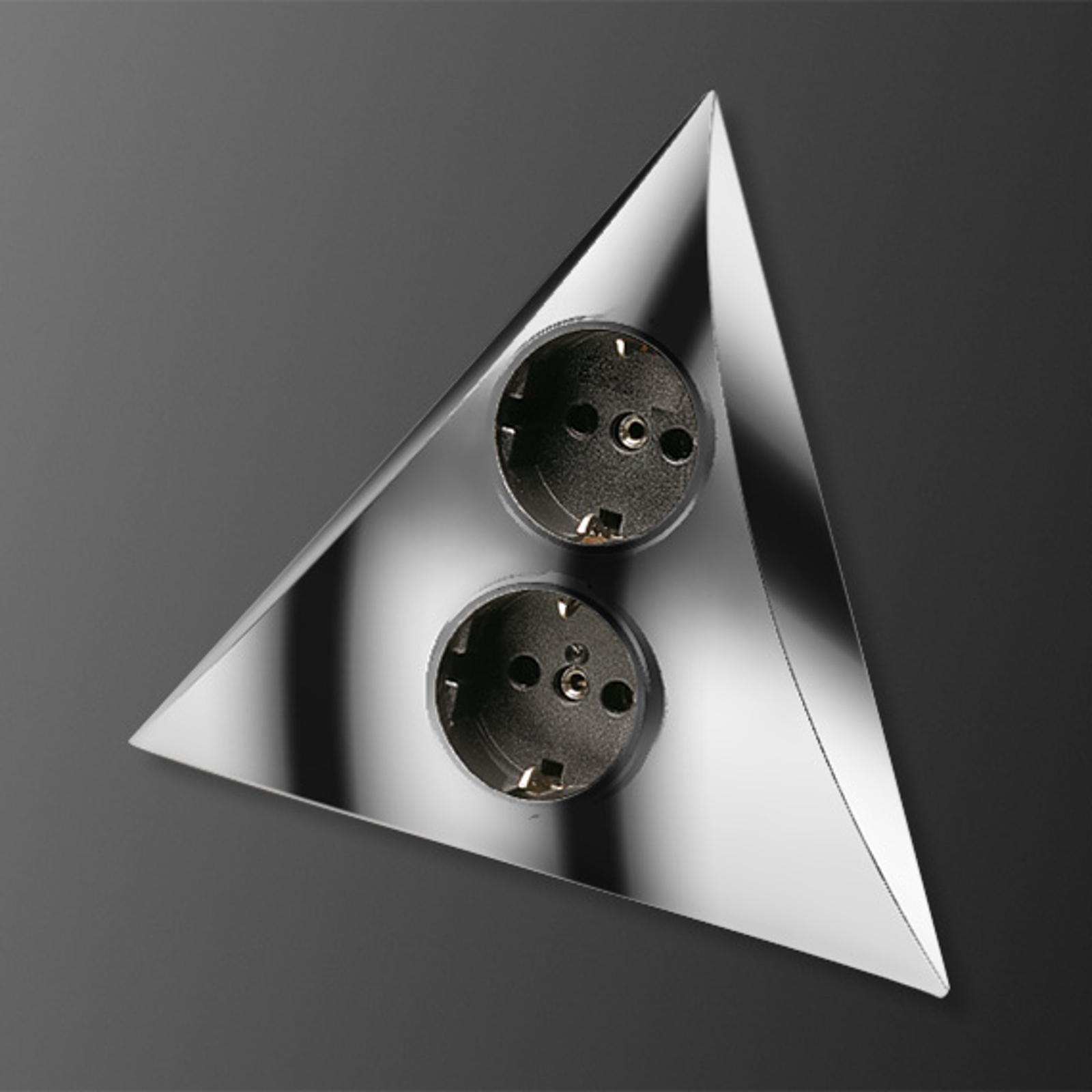 Steckdosen-Kombination Luxor chrom matt 2Steckd.