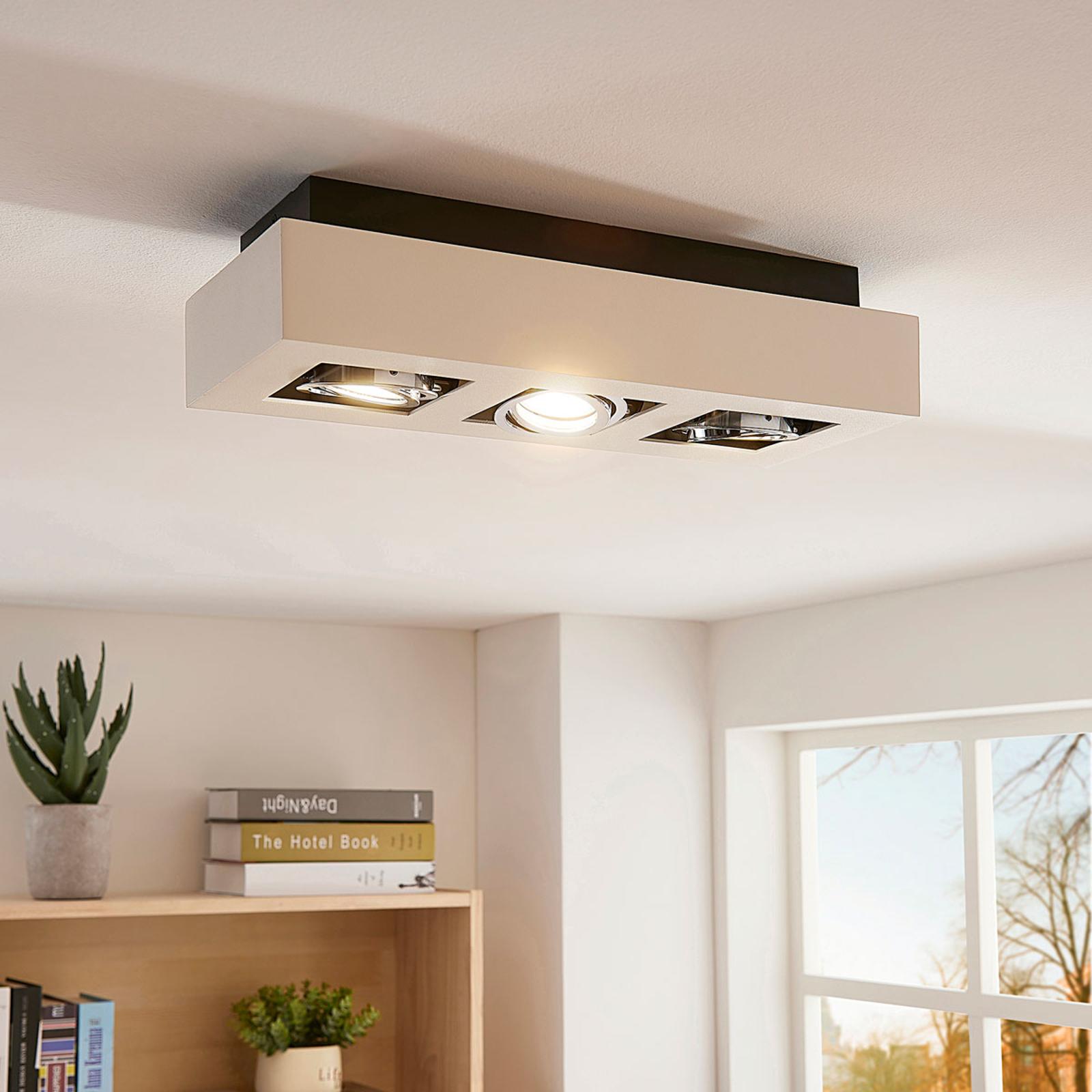 LED-loftslampen Vince i hvid, 3 lyskilder
