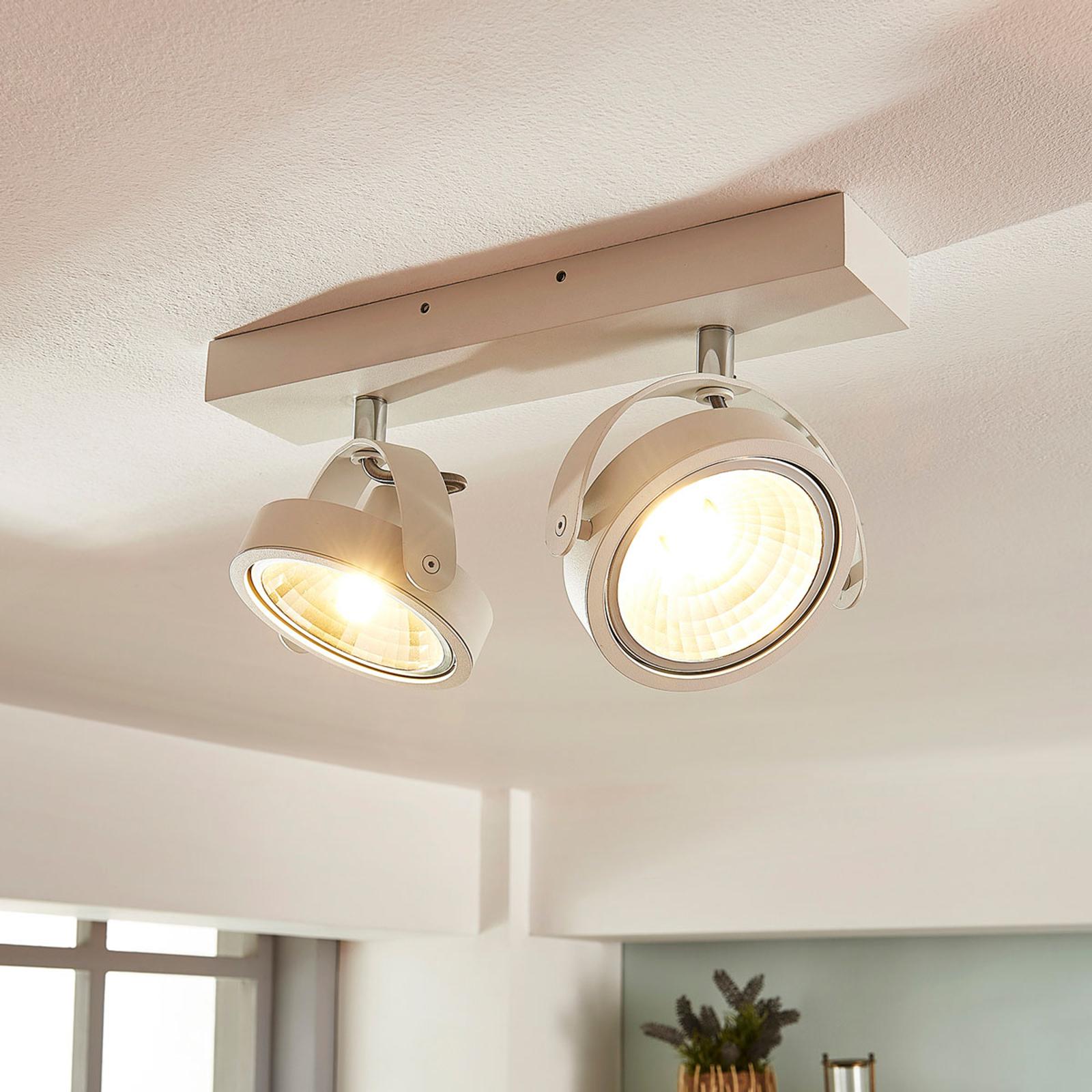 Lieven - plafonnier LED à 2 lampes en blanc