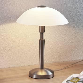 Lampada da tavolo Tibby, paralume di vetro nichel