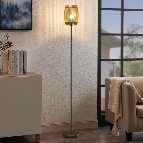 Stehlampe Jemile mit Schirm aus Birkenholzstäben