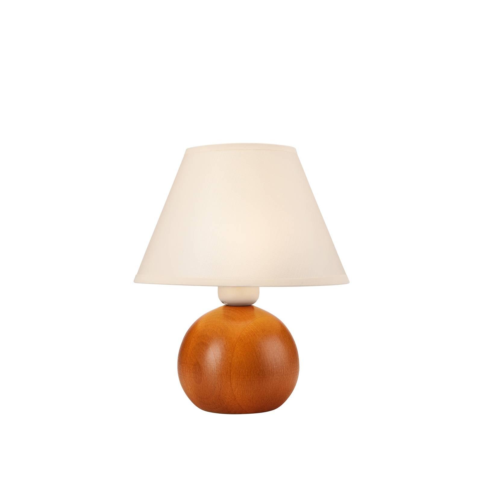 Lampada tavolo Gill, legno rustico/paralume bianco