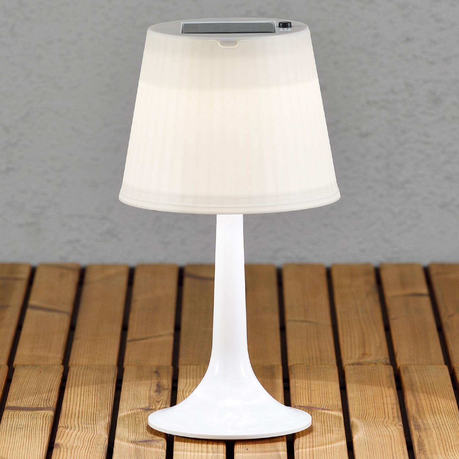 Biała solarna lampa stołowa LED ASSISI SITRA