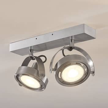 LED-Strahler Munin, dimmbar, alu, 2-flammig