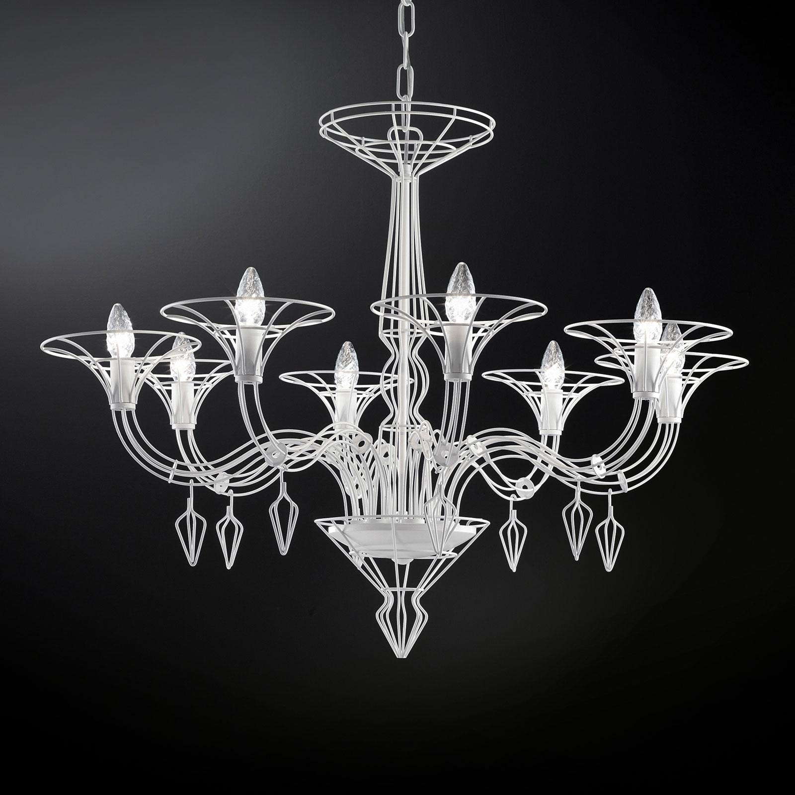 Ljuskrona Dedalo 8 lampor vit