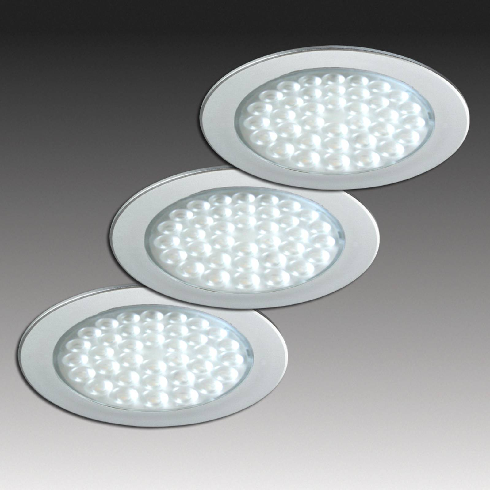 R 68-LED Einbaustrahler in Edelstahloptik, 3er-Set