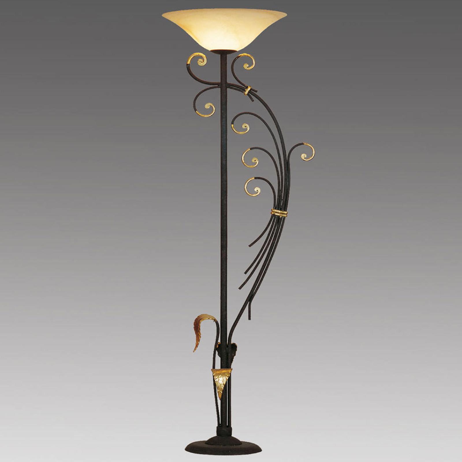 Gulvlampe Florence dekorert med bladgull