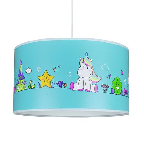 Suspension Unicorn, bleue avec des motifs