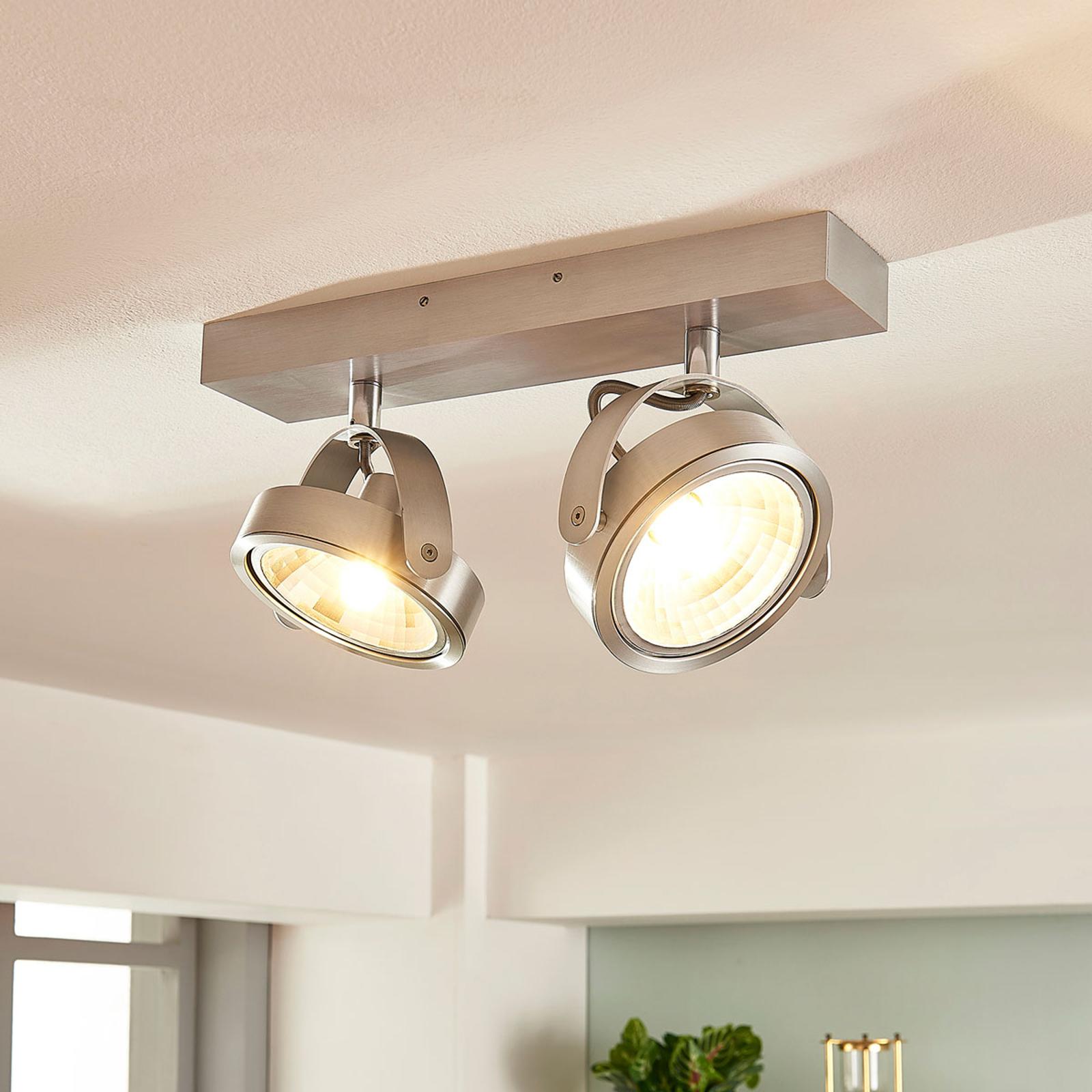 Projecteur aluminium à 2 lampes Lieven et LED G9