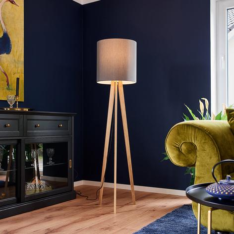 Tkaninová stojací lampa Nida s dřevěným podstavcem