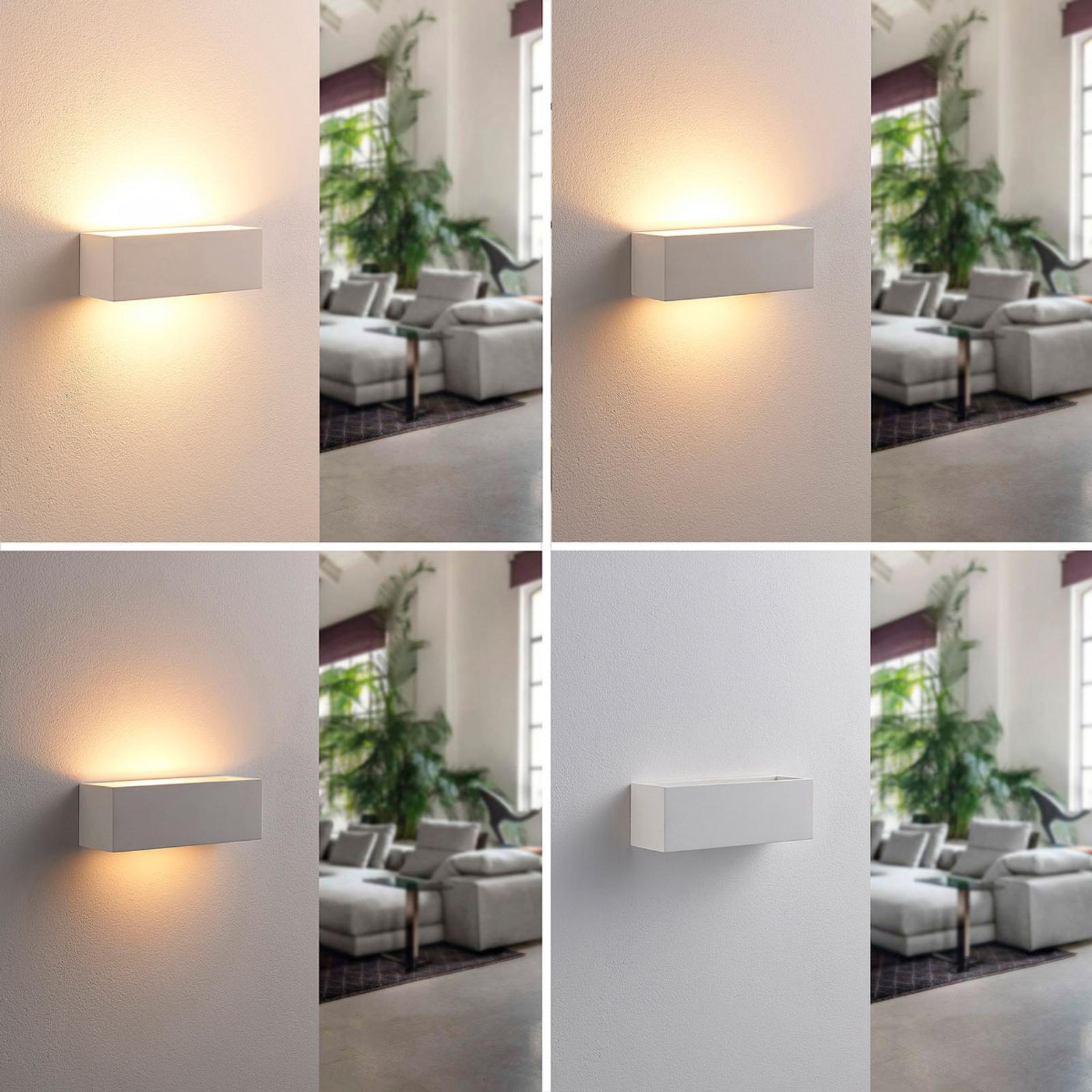 Applique LED squadrata Tjada di gesso