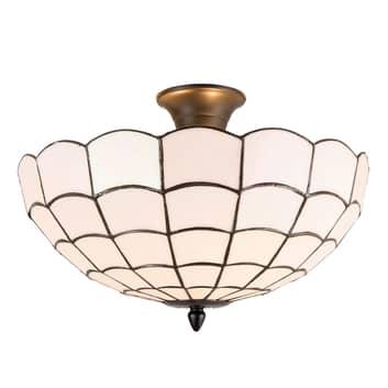 Wiebke loftlampe, hvid, i tiffanystil