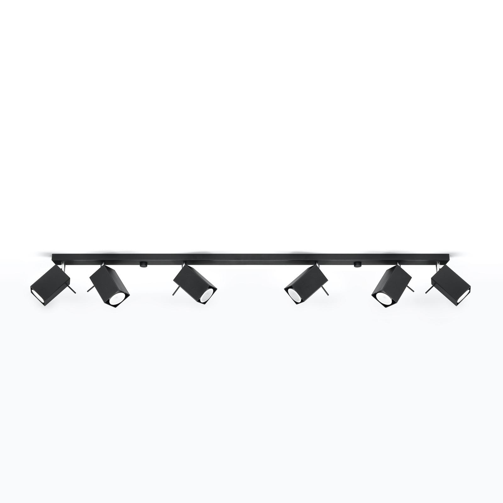 Plafondspot Square, zwart 6-lamps linear