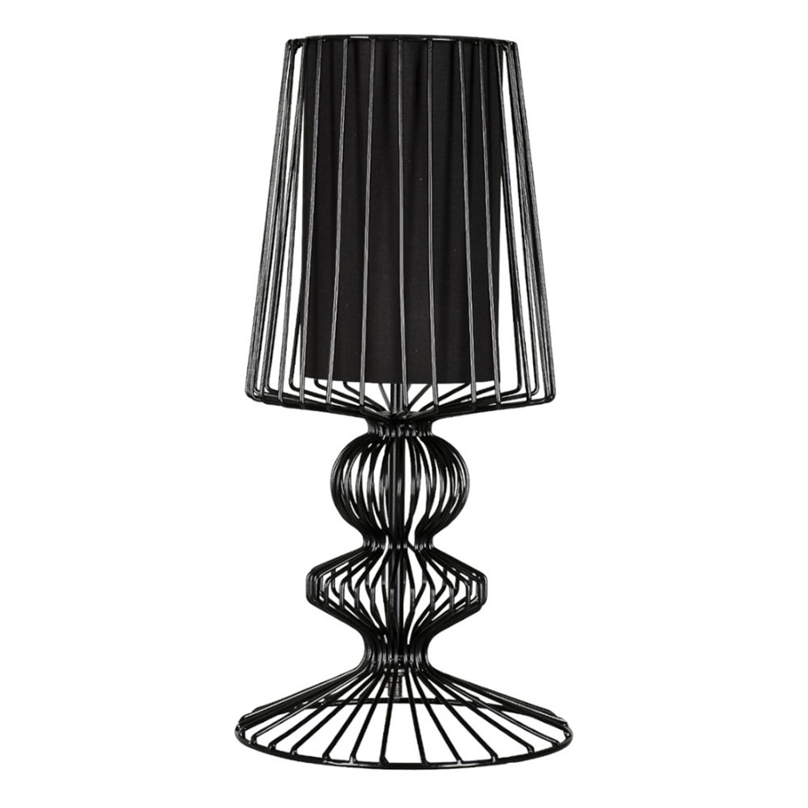 Tischlampe Aveiro S aus Metallstreben, schwarz