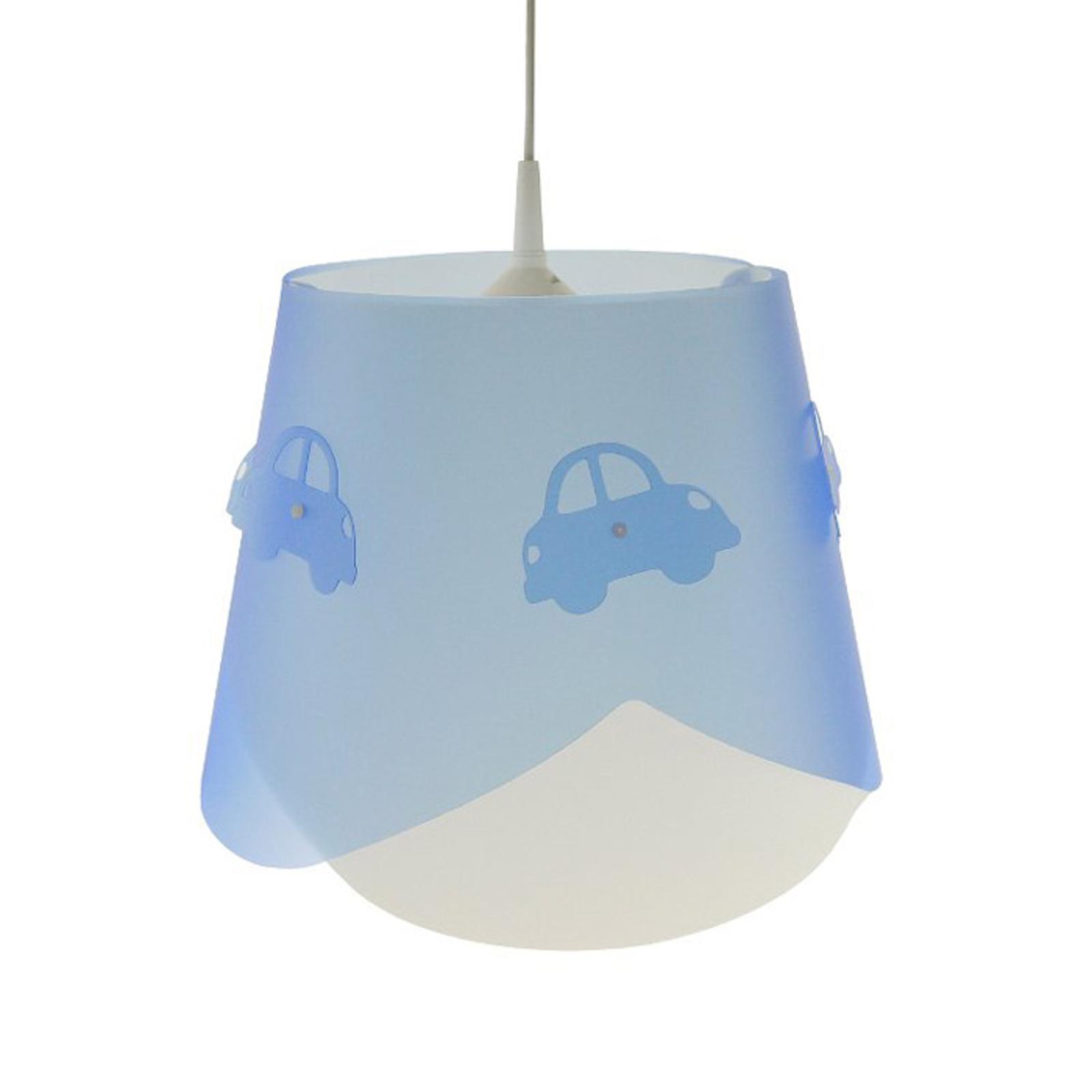 Blaue Pendelleuchte Piet mit Automotiv