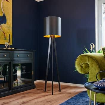 Lampa stojąca Nida z czarno-złotym kloszem
