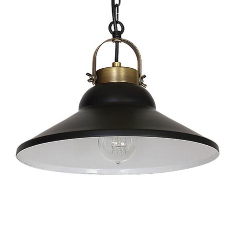 Lámpara colgante Iron, negro/blanco/latón antiguo