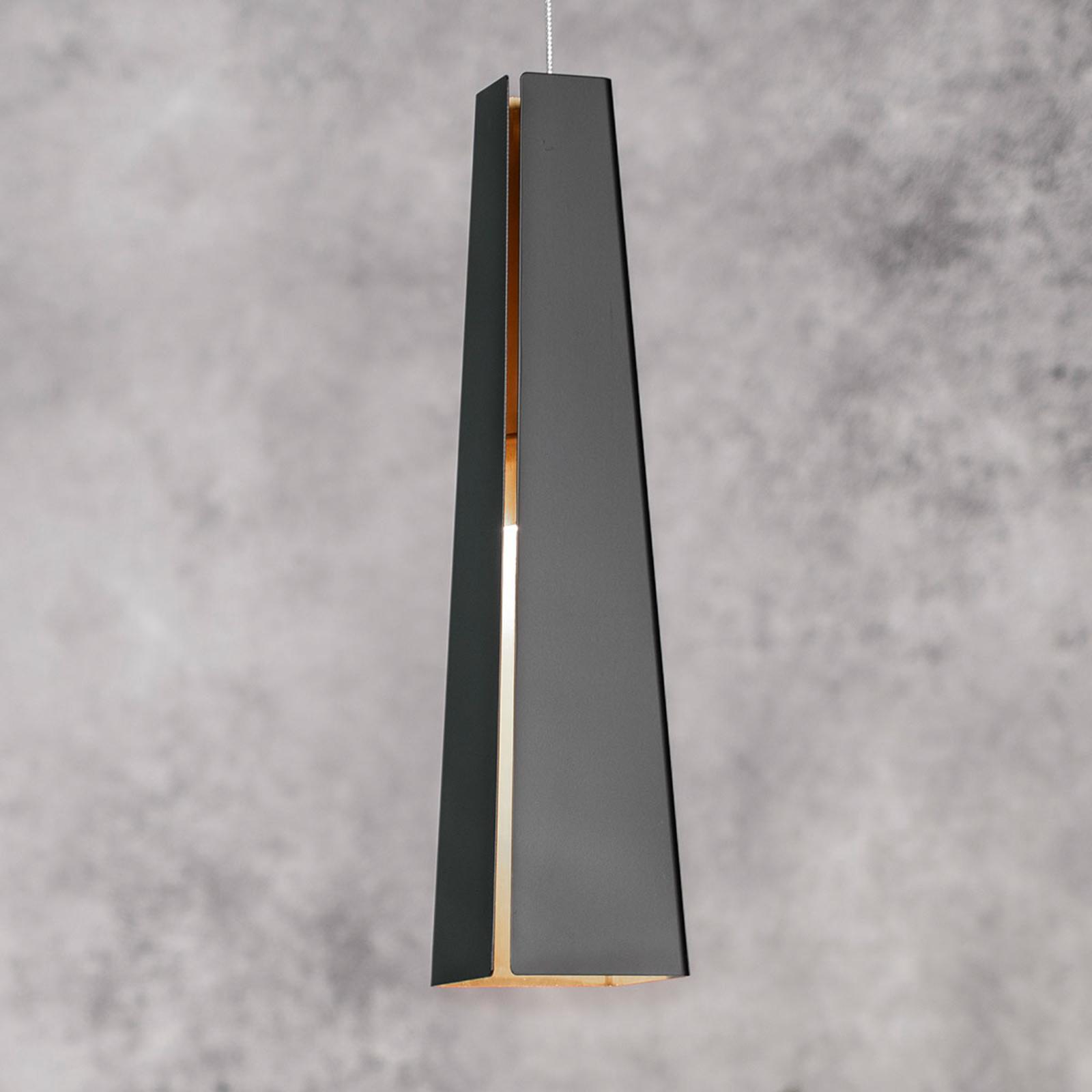Černě zlaté závěsné světlo Pluma, LED