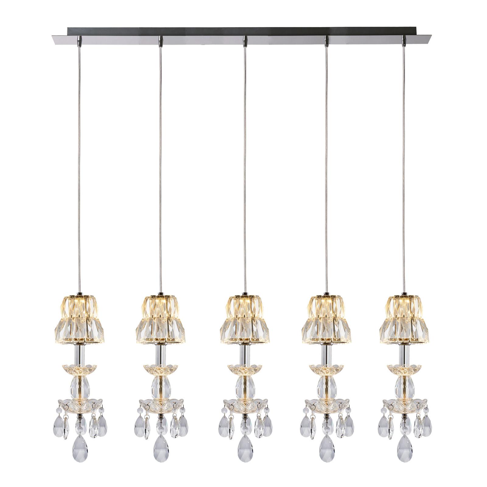 Lucande Yasanie LED-pendellampe, 5 lyskilder, lang