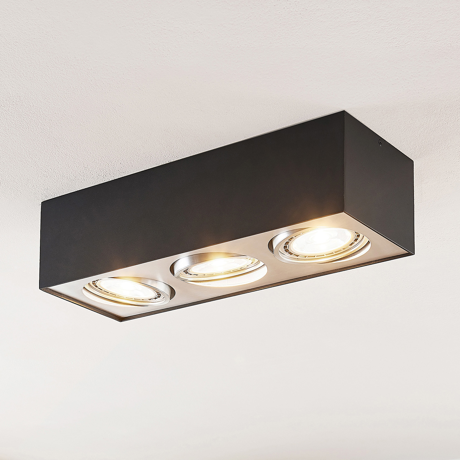 Arcchio Dwight LED-Deckenlampe in Schwarz, 3-fl.