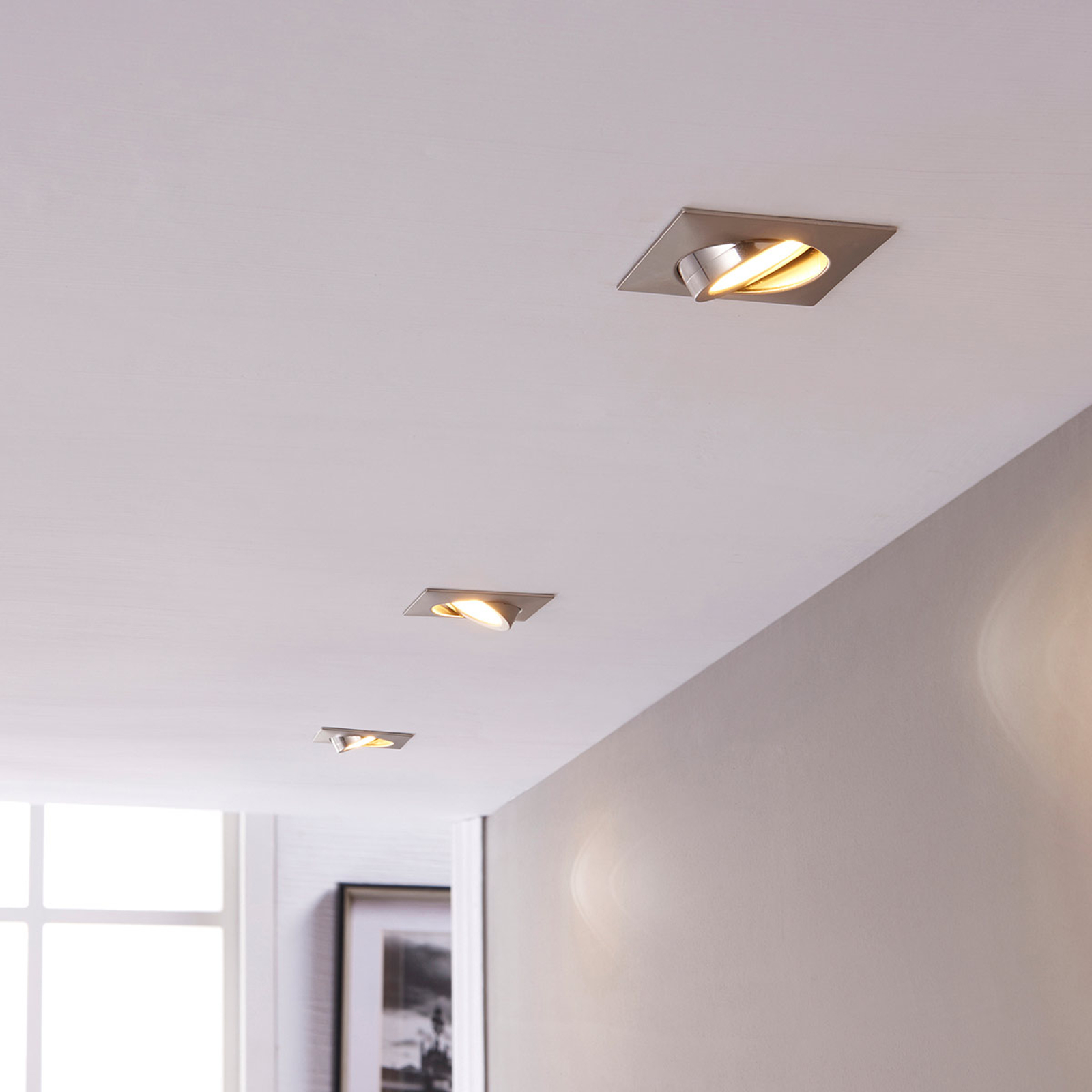 LED-Einbaustrahler Andrej, eckig, nickel, 3er-Set