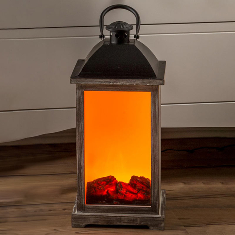 Houten lantaarn m. schoorsteeneffect LED met trafo