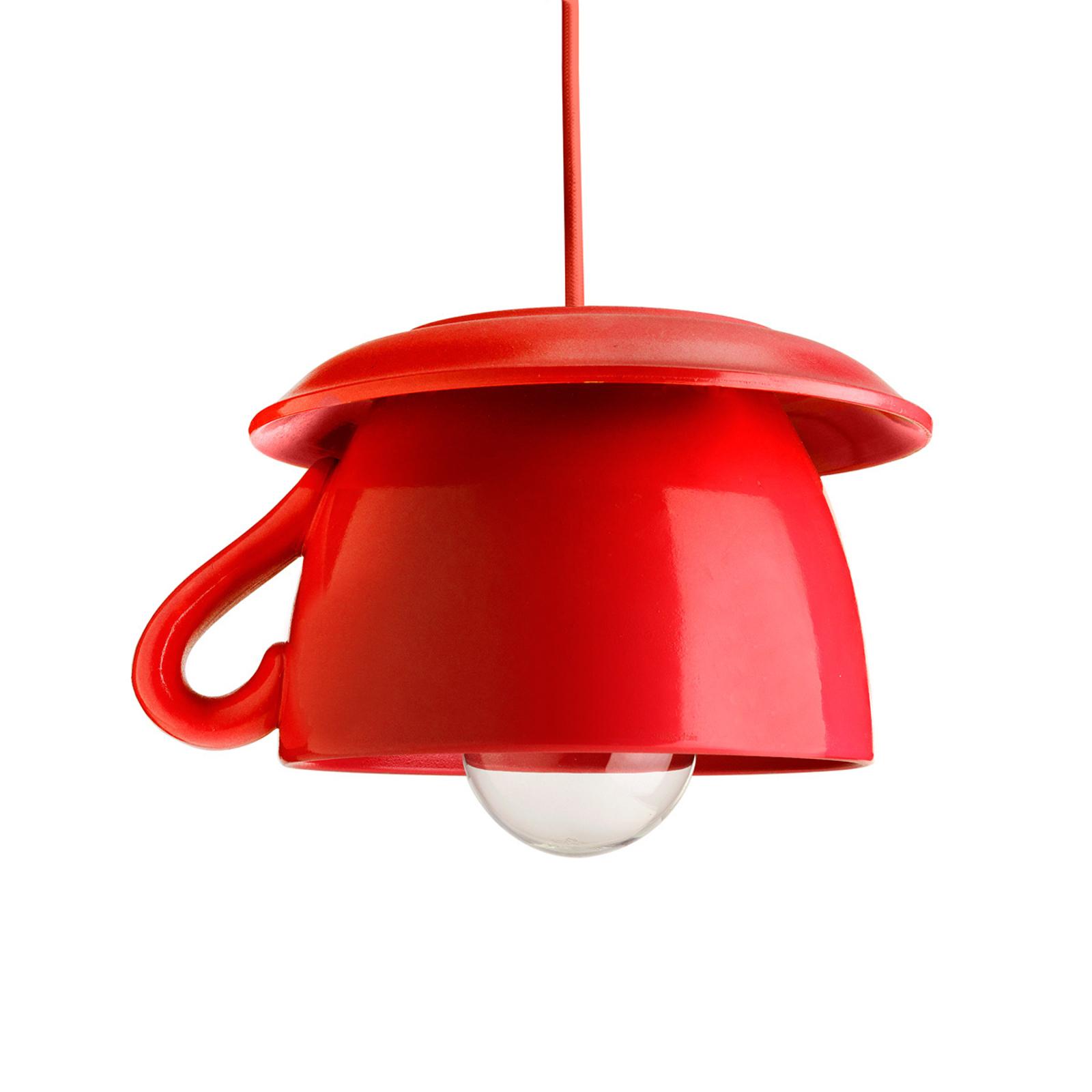 Tazza-czerwona ceramiczna lampa wisząca do kuchni