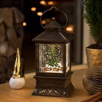 Farola LED con nieve «Mercado de Navidad» con agua