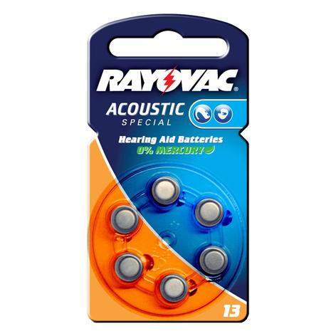Acoustic 1,4V, 310m/Ah knappcelle Rayovac 13