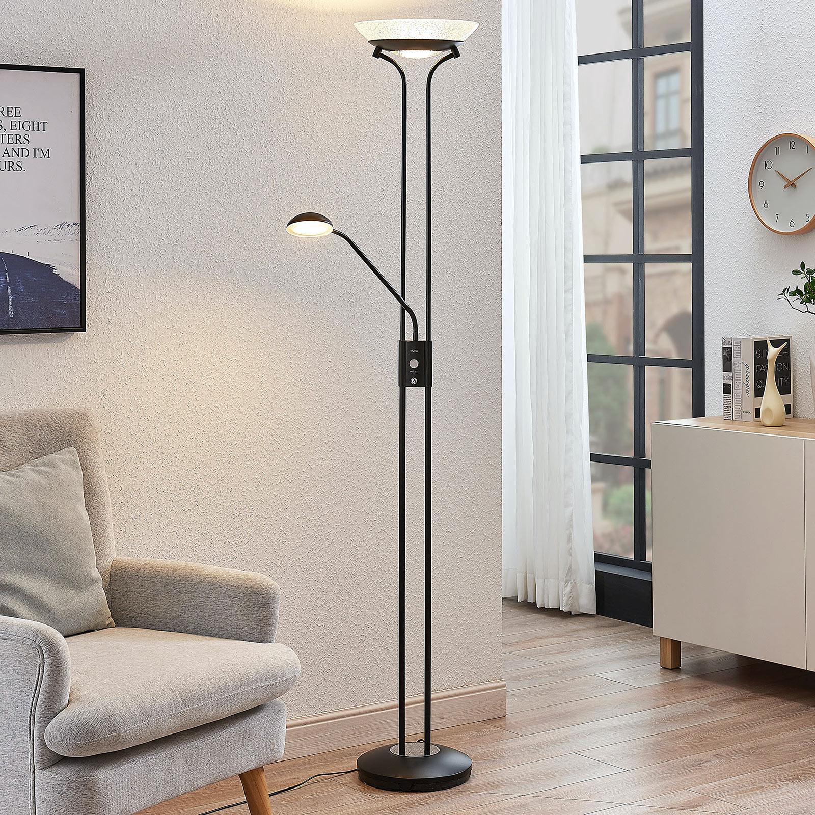 Lampadaire indirect LED Dimitra liseuse, noir