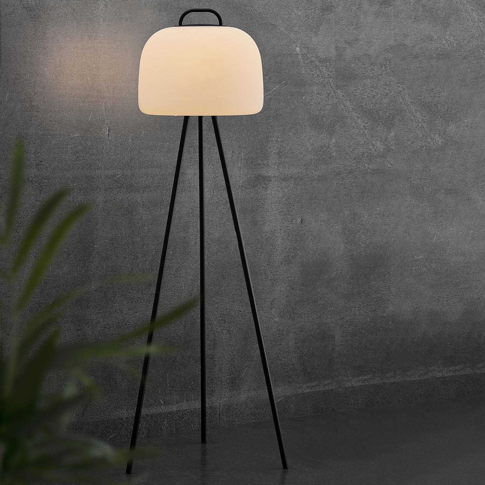 Lampada LED terra Kettle treppiede metallo, 36cm