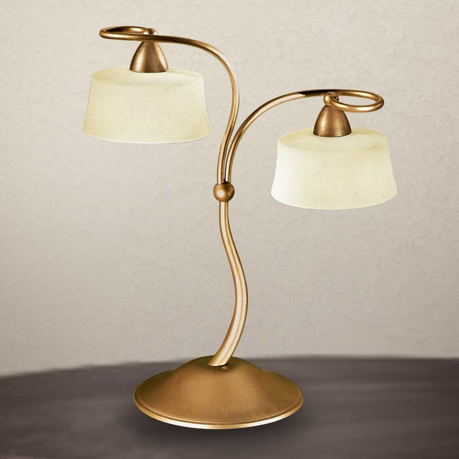 Tafellamp Alessio met Scavo glazen kappen, 2-lamps