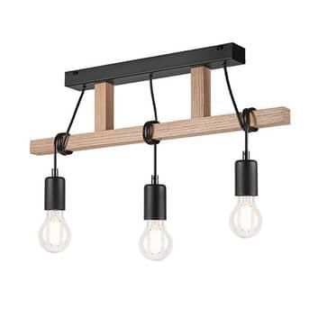 Závěsné světlo Tyske ze dřeva, tři zdroje, černá