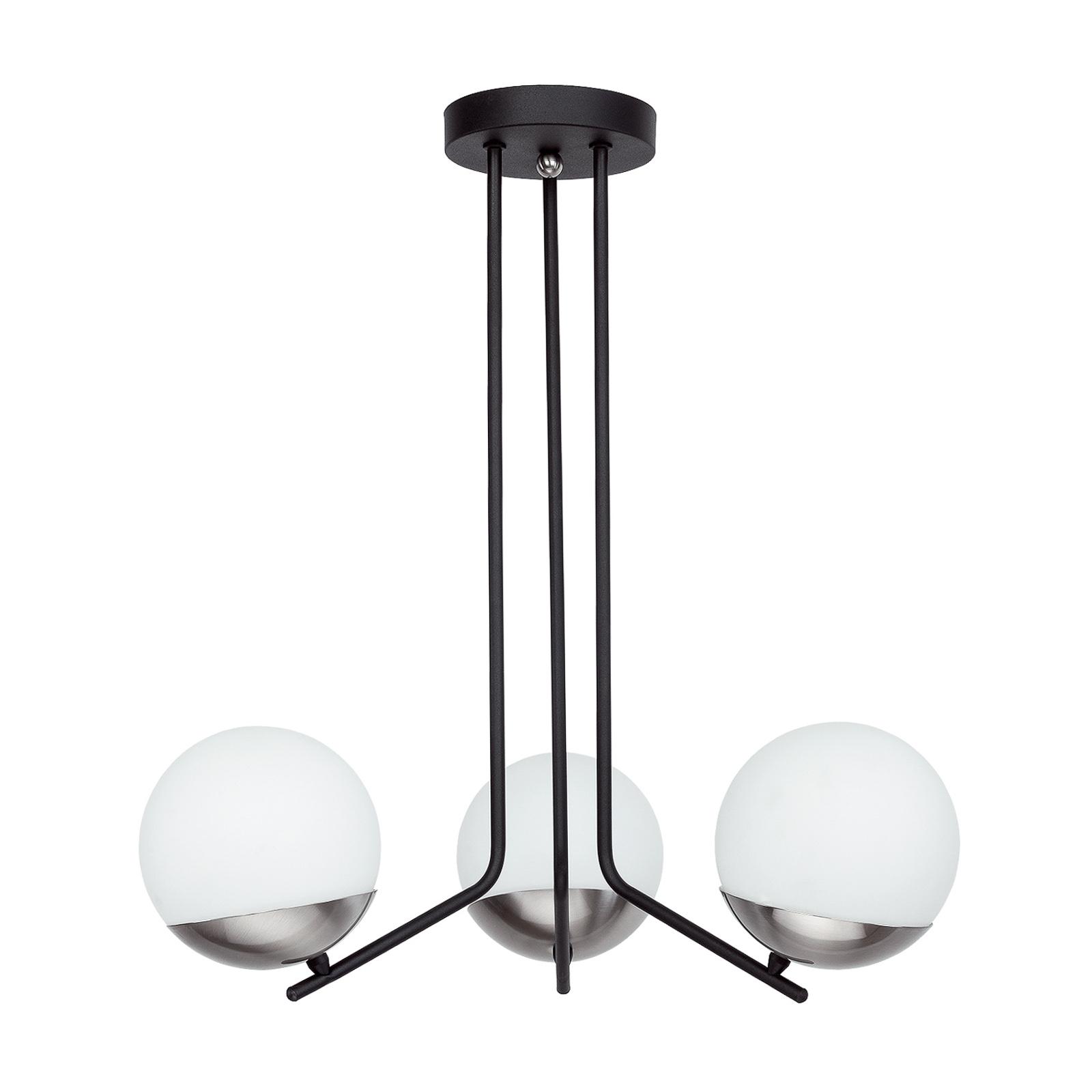 Suspension Torbole, opale/nickel, à 3 lampes