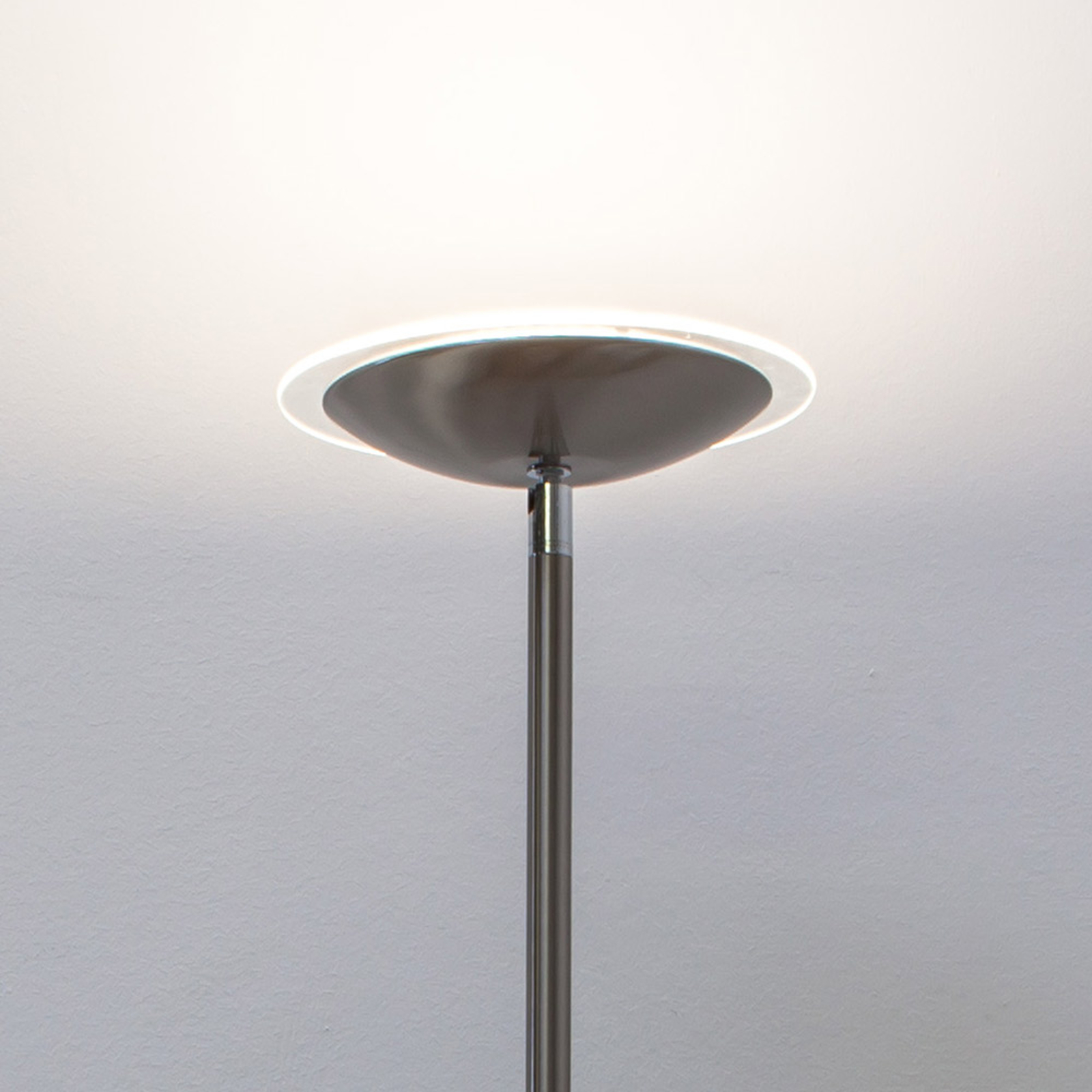Lampada da terra LED Malea nichel satinato