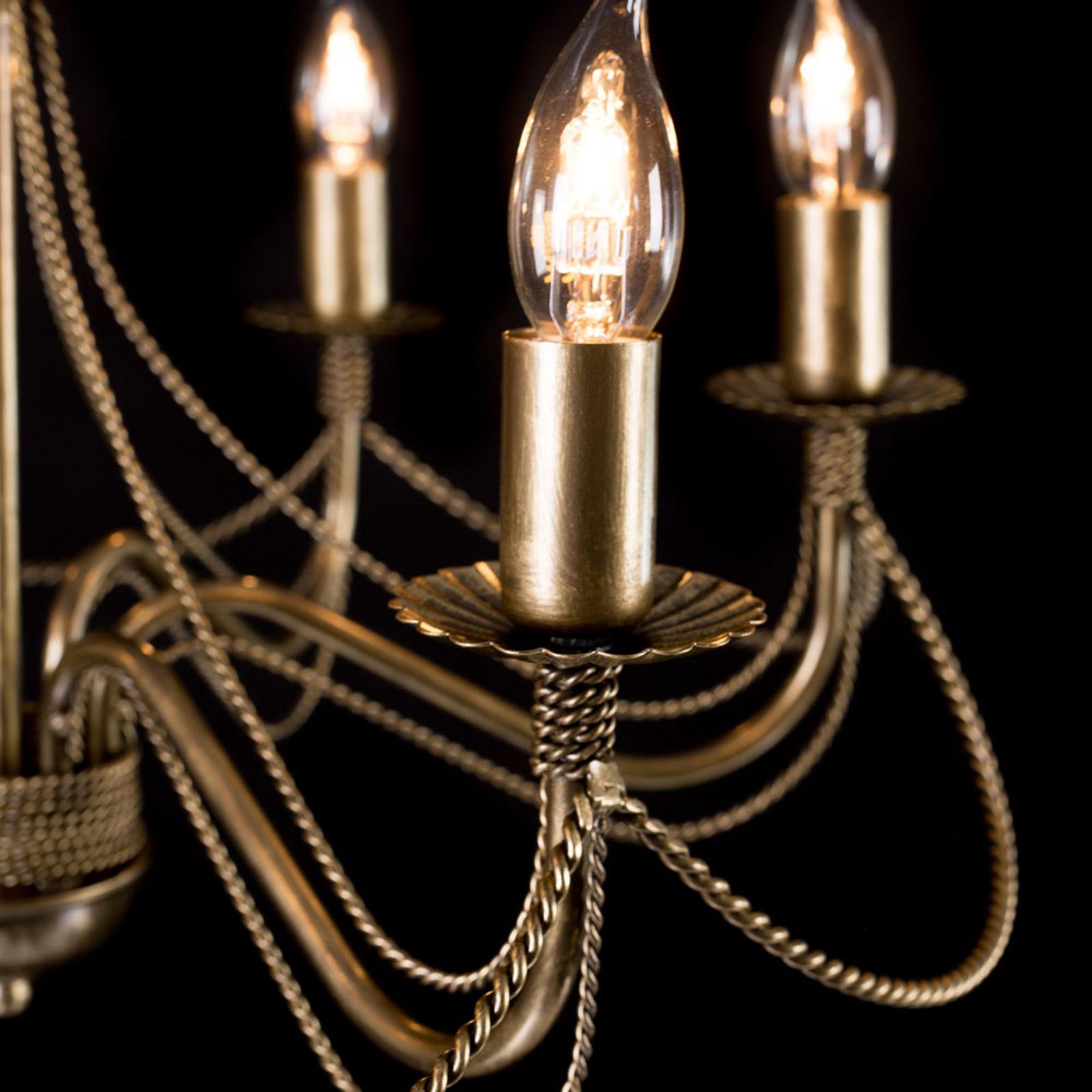 kroonluchter Tori 6, 6-lamps, goud