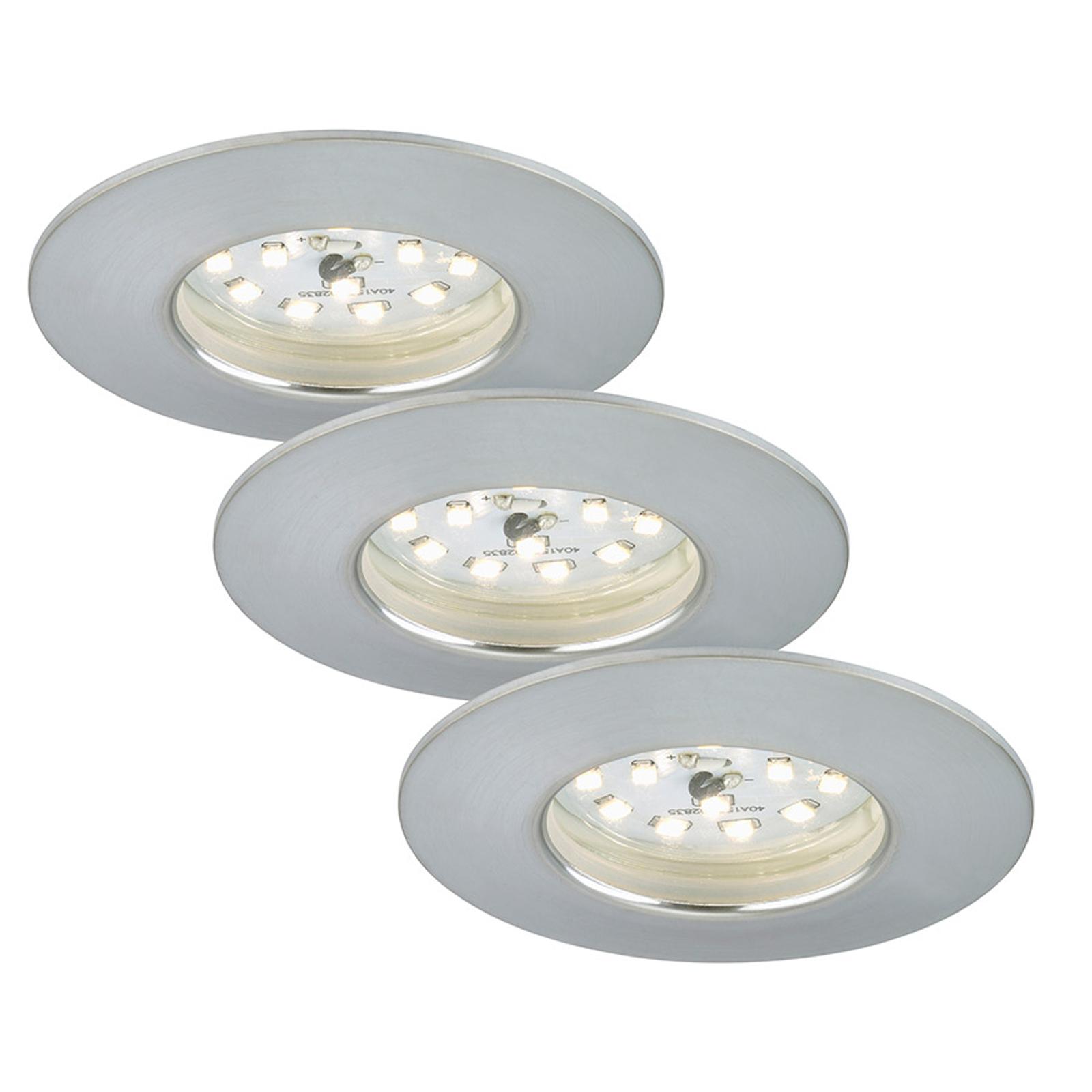 Set de 3 spots encastrés LED Felia IP44, alu.