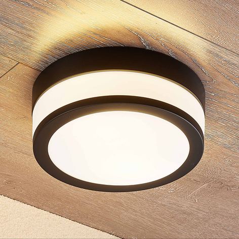 Lindby Flavi taklampe til bad, Ø 23 cm, svart