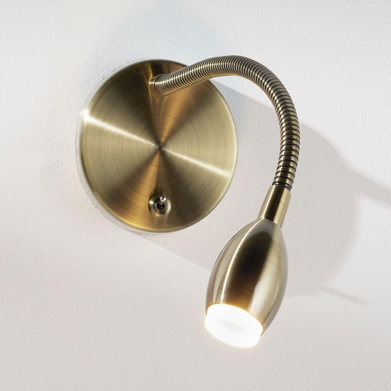 MARTA fleksibel LED-væglampe, patineret messing