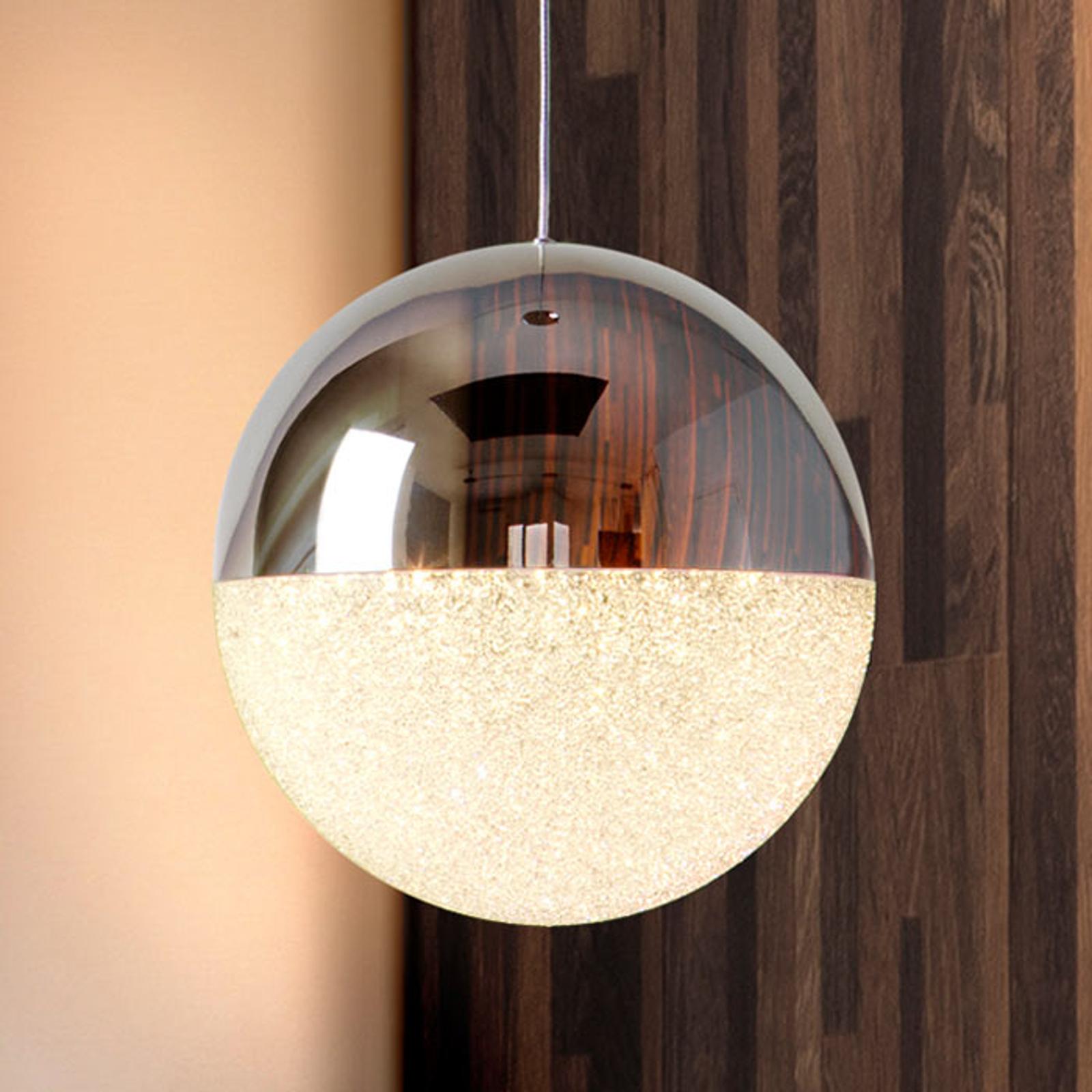 Kuleformet LED-hengelampe Sphere, Ø 20 cm